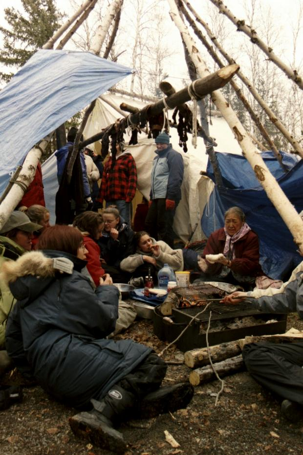 People in a Spring Camp