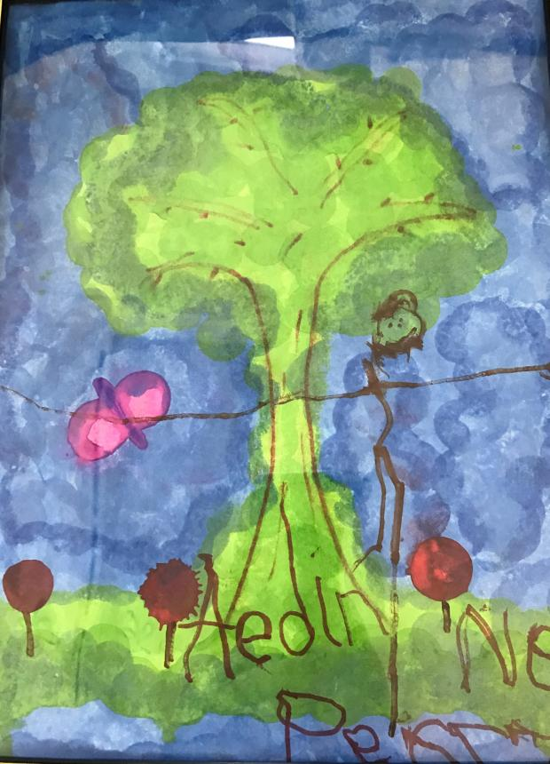 5 year old Aedine's painting of a tree.