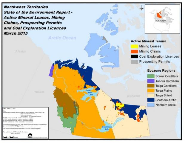 NWT Active mineral leases, mining claims, prospecting permits and coal exploration licences, March 2015 - map