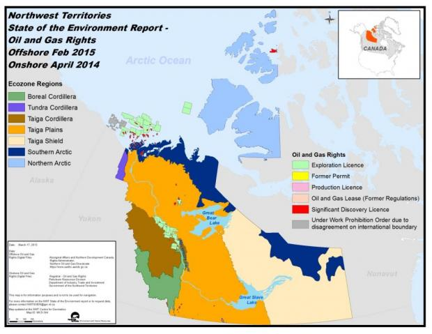 NWT Oil and Gas Rights. Offshore Feb 2015 Onshore April 2014 - map