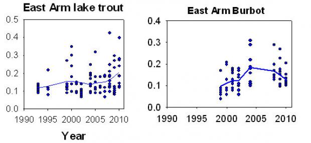 Mercury in lake trout and burbot in Great Slave Lake's East Arm (Taiga Shield) is showing an increase since early 2000.