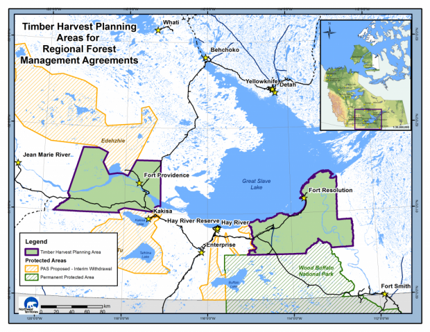 Map - Timber harvest planning area for regional forest management agreements - NWT