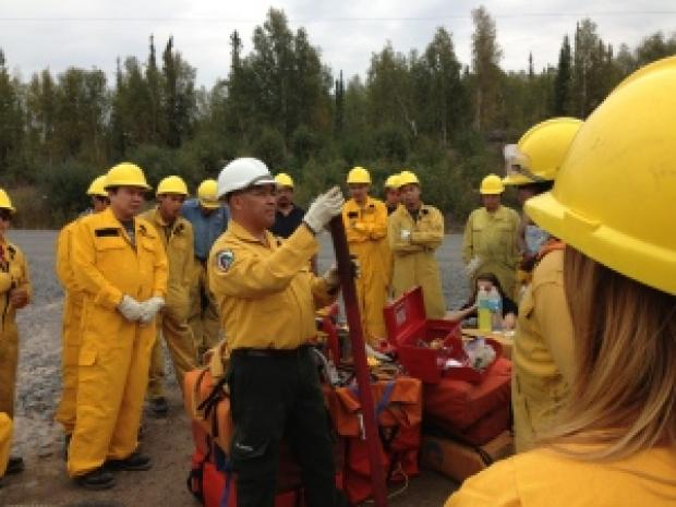 Firefighters train near Dettah, July 2014