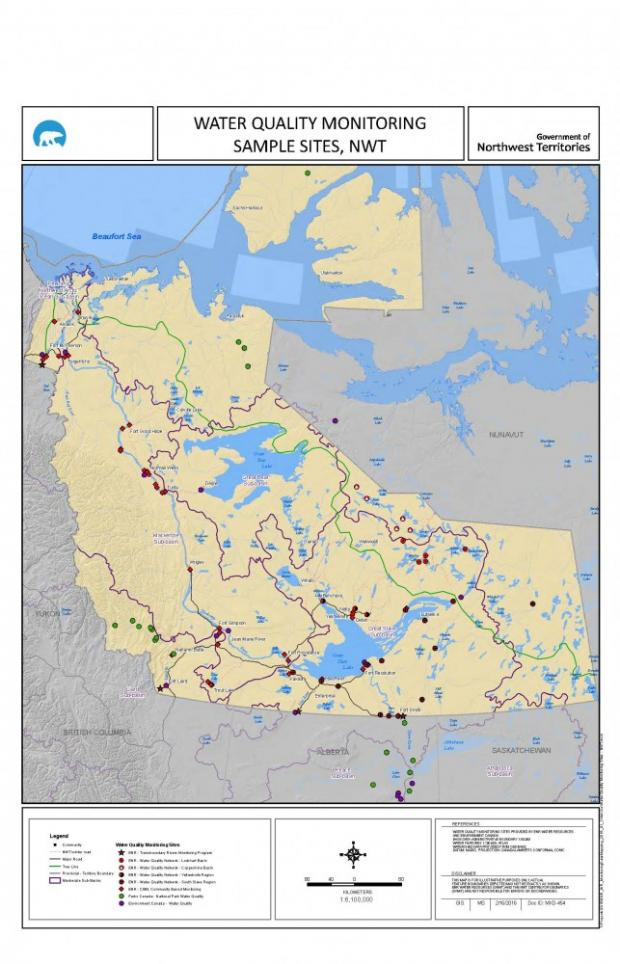 Water quality monitoring sample sites, Northwest Territories