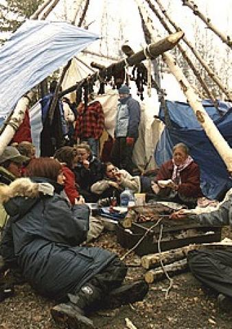 People at a spring camp, NWT